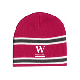Pink/Charcoal/White Striped Knit Beanie-W Wofford
