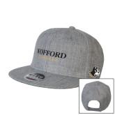 Heather Grey Wool Blend Flat Bill Snapback Hat-Wofford Terriers Word Mark
