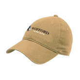 Vegas Gold Twill Unstructured Low Profile Hat-Wofford Terriers w/ Terrier Flat