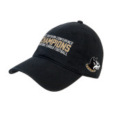 Black Twill Unstructured Low Profile Hat-2017 Football Champions Stacked