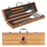 Grill Master 3pc Bamboo BBQ Set-Wofford Terriers w/ Terrier Engraved