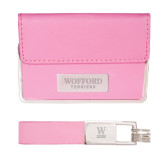 Business Card Case and Key Ring Set Pink-Wofford Terriers Word Mark Engraved