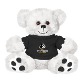 Plush Big Paw 8 1/2 inch White Bear w/Black Shirt-Wofford Terriers w/ Terrier