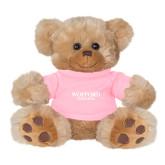 Plush Big Paw 8 1/2 inch Brown Bear w/Pink Shirt-Wofford Terriers Word Mark