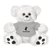 Plush Big Paw 8 1/2 inch White Bear w/Grey Shirt-Wofford Terriers w/ Terrier