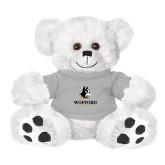 Plush Big Paw 8 1/2 inch White Bear w/Grey Shirt-Wofford Terriers w/ Terrier