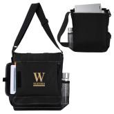 Impact Vertical Black Computer Messenger Bag-W Wofford