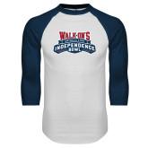White/Navy Raglan Baseball T Shirt-Independence Bowl