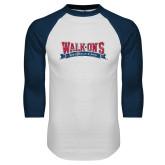 White/Navy Raglan Baseball T Shirt-Primary Mark Distressed