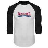 White/Black Raglan Baseball T Shirt-Primary Mark Distressed