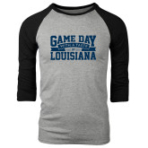 Grey/Black Tri Blend Baseball Raglan-Game Day - Louisiana