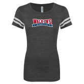 ENZA Ladies Black/White Vintage Football Tee-Primary Mark