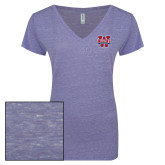 ENZA Ladies Surfer Blue Melange V Neck Tee-W Mark