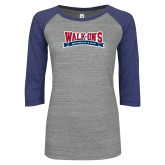 ENZA Ladies Athletic Heather/Blue Vintage Baseball Tee-Primary Mark