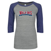 ENZA Ladies Athletic Heather/Blue Vintage Baseball Tee-Primary Mark Distressed