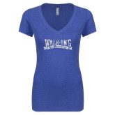Next Level Ladies Vintage Royal Tri Blend V Neck Tee-Primary Mark Distressed