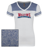 Ladies White/Heathered Royal Juniors Varsity V Neck Tee-Primary Mark Distressed