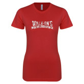Next Level Ladies SoftStyle Junior Fitted Red Tee-Primary Mark Distressed