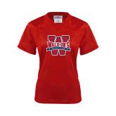 Ladies Red Replica Football Jersey-W Mark