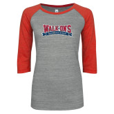 ENZA Ladies Athletic Heather/Red Vintage Baseball Tee-Primary Mark Distressed