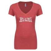 Next Level Ladies Vintage Red Tri Blend V Neck Tee-Primary Mark Distressed