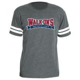 Light Grey Football Fine Jersey T Shirt-Distressed