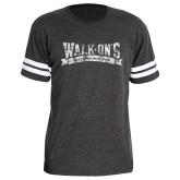 Dark Grey Football Fine Jersey T Shirt-Distressed