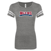 ENZA Ladies Dark Heather/White Vintage Football Tee-Primary Mark