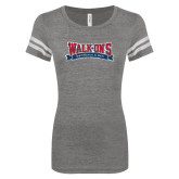 ENZA Ladies Dark Heather/White Vintage Football Tee-Primary Mark Distressed