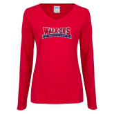Ladies Red Long Sleeve V Neck Tee-Primary Mark Distressed