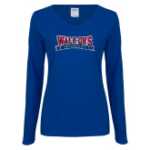 Ladies Royal Long Sleeve V Neck Tee-Primary Mark Distressed