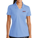 Ladies Nike Golf Dri Fit Light Blue Micro Pique Polo-Primary Mark