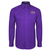 Purple Twill Button Down Long Sleeve-Location Personalized