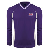 Colorblock V Neck Purple/White Raglan Windshirt-Location Personalized
