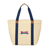 Natural/Navy Saratoga Tote-Primary Mark