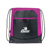 Nylon Pink Raspberry/Deep Smoke Pocket Drawstring Backpack-Primary Mark