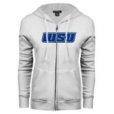 ENZA Ladies White Fleece Full Zip Hoodie-WSU