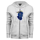 ENZA Ladies White Fleece Full Zip Hoodie-Lancer Head