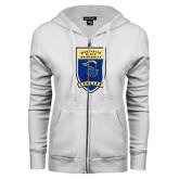 ENZA Ladies White Fleece Full Zip Hoodie-Lancer Shield