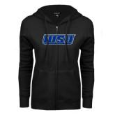 ENZA Ladies Black Fleece Full Zip Hoodie-WSU