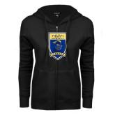 ENZA Ladies Black Fleece Full Zip Hoodie-Lancer Shield