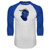 White/Royal Raglan Baseball T Shirt-Lancer Head