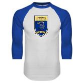 White/Royal Raglan Baseball T Shirt-Lancer Shield