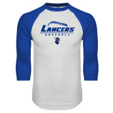 White/Royal Raglan Baseball T Shirt-Baseball Laces