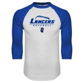 White/Royal Raglan Baseball T Shirt-Baseball Laces