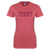 Next Level Ladies SoftStyle Junior Fitted Pink Tee-WSU Glitter Hot Pink Glitter