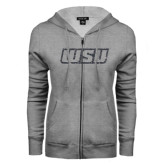 ENZA Ladies Grey Fleece Full Zip Hoodie-WSU Glitter Graphite Soft Glitter