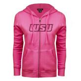 ENZA Ladies Fuchsia Fleece Full Zip Hoodie-WSU Glitter Hot Pink Glitter