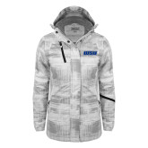 Ladies White Brushstroke Print Insulated Jacket-WSU