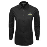 Ladies Black Tonal Pattern Long Sleeve Shirt-Primary Mark